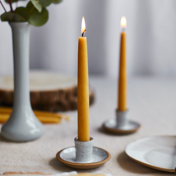 Hand-dipped Beeswax Taper Candle Lit