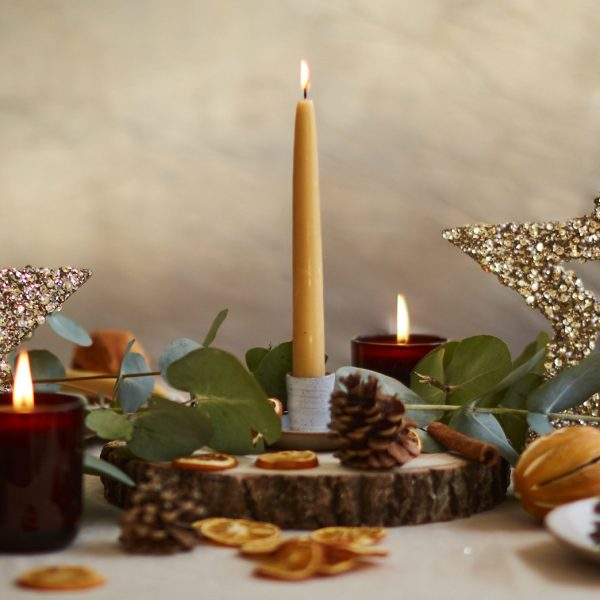 Christmas Beeswax Centrepiece Candle