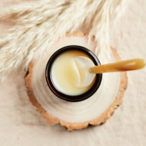 Organic Beeswax Balm overhead with spoon