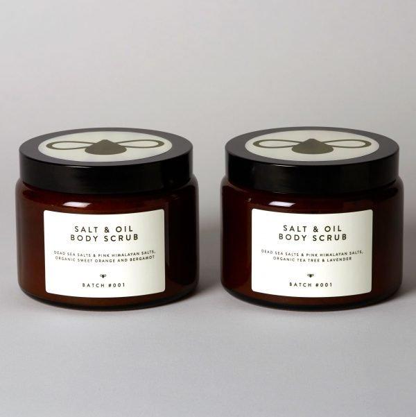 Salt & Oil Body Scrub Duo glass jar