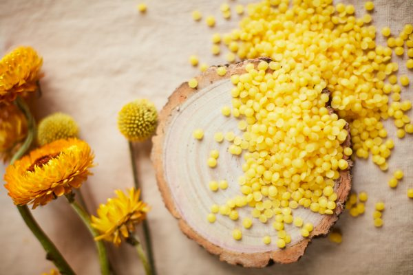 Organic Beeswax on table