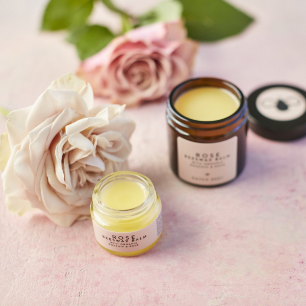 Rose Beeswax Balm 15ml with 60ml and roses