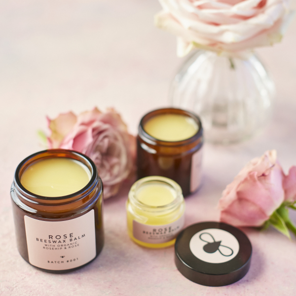 Rose Beeswax Balms Trio with roses