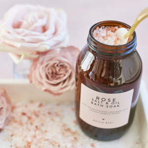 Rose Salt & Oil Bath Soak with roese on marble