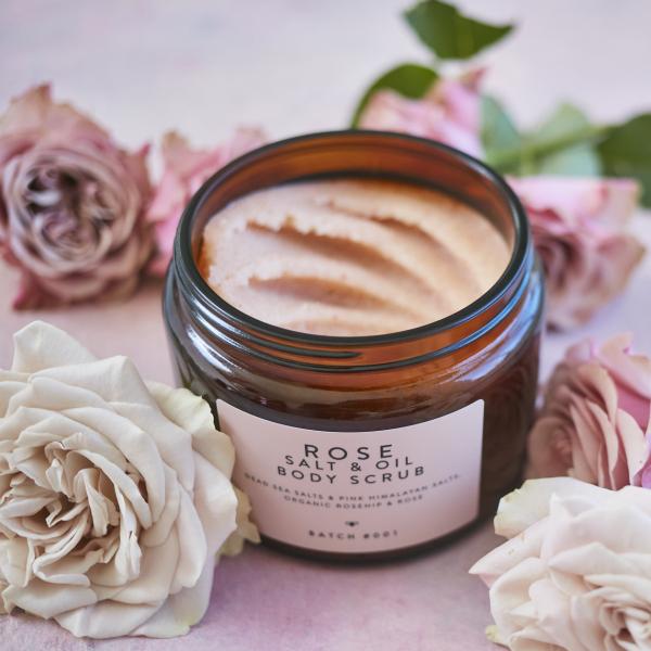 Rose Salt & Oil Body Scrub with roses